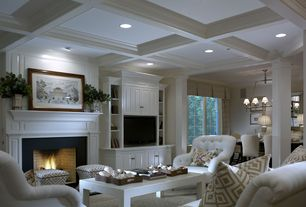 "Traditional Living Room with Box ceiling, Columns, Dessau 41"" coffee table, Built-in bookshelf, Coffered ceiling, Carpet"