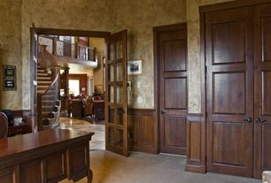 Craftsman Home Office with interior wallpaper, six panel door, Wainscotting, Chair rail, Carpet, High ceiling, French doors