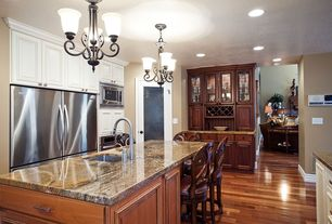 Traditional Kitchen with Glass panel, Standard height, Framed Partial Panel, Complex granite counters, Undermount sink