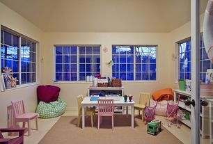 Traditional Playroom with Glass panel door, simple marble floors, Standard height, Casement, Art desk