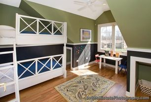 Traditional Kids Bedroom with Surya Rain Multi Outdoor Rug, Wainscoting, Rust-Oleum Magnetic Primer - Gray Quart, Bunk beds