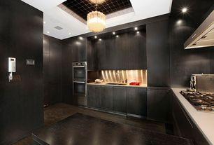 Contemporary Kitchen with Standard height, U-shaped, full backsplash, Stainless Steel, European Cabinets, Kitchen peninsula