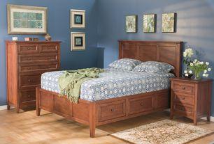 Craftsman Master Bedroom with Standard height, Hardwood floors