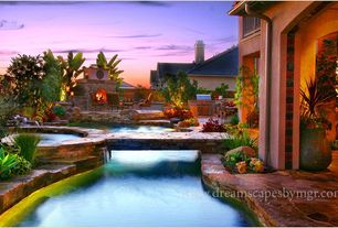 Swimming Pool with Outdoor kitchen, Covered patio, Fence, Natural stone flooring, Pathway, Pool with hot tub, Casement