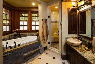 "Rustic Master Bathroom with Sinks faucets and more 18-22"" stone forest pebble vessel sink, w/optional grid drain c28"