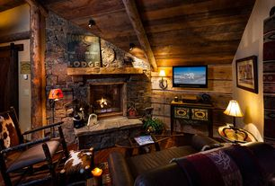 Rustic Living Room with Pro Line Shannon Weatheredge Stone Veneer, Wood ceiling, Stacked stone wall, Exposed beam