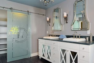 Contemporary Master Bathroom with Complex Marble, Complex marble counters, Chandelier, Powder room, quartz floors