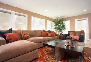 Modern Living Room with Concrete tile , French doors