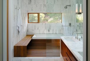 Traditional Master Bathroom with Double sink, tiled wall showerbath, wall-mounted above mirror bathroom light, Full Bath