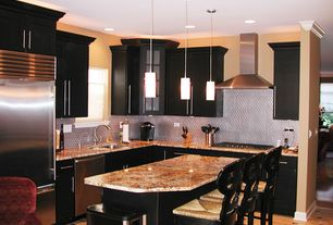 Contemporary Kitchen with L-shaped, Glass panel, Undermount sink, Kitchen island, European Cabinets, Metal Tile