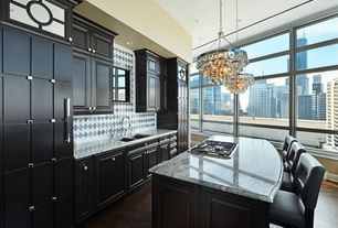 Contemporary Kitchen with Indoor 5-light luxury crystal chandelier, Breakfast bar, Calacatta vagli, Large Ceramic Tile