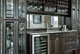 Contemporary Bar with Built-in bookshelf, Laminate floors