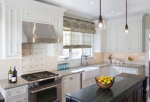 "Traditional Kitchen with 1-3/8"" glass knob, clear with nickel base, Crown molding, White subway tile, Large Ceramic Tile"