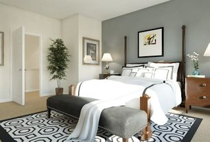 Traditional Master Bedroom with Paint 1, Carpet, Simple living grey microfiber nailhead bench, Standard height, Paint 2