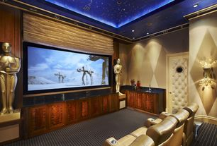 Contemporary Home Theater with Carpet, specialty door, Wall sconce, Crown molding, High ceiling