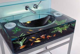 Contemporary Powder Room with Aquarium Sink, Aquarium vanity