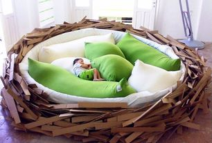 Contemporary Playroom with Nest bed, Cardboard, Tile floor, Body pillow