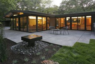 Contemporary Patio with French doors, Pathway, exterior tile floors