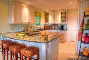 Cottage Kitchen with Flat panel cabinets, U-shaped, Granite biano antico, Pottery barn seagrass backless barstool, Glass Tile