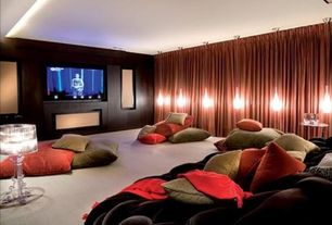 Contemporary Home Theater with Carpet, Comfy sack velvet beanbag, can lights, Standard height, Wall sconce