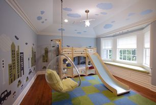 Contemporary Kids Bedroom with Paint, Transparent hanging ball chair, Bay window, Paint 1, High ceiling, no bedroom feature