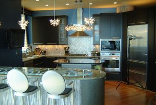 Contemporary Kitchen with Glass counters, L-shaped, Flush, Specialty Tile, Pendant light, Simple granite counters