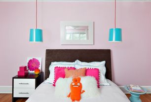 Contemporary Kids Bedroom with Hanging Pendant Light- Red Cord