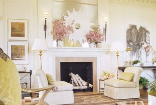 Contemporary Living Room with Fireplace, Wall sconce, Crown molding, High ceiling, Cement fireplace, Laminate floors