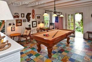 Eclectic Game Room with Wall sconce, Pendant light, terracotta tile floors, Exposed beam, French doors