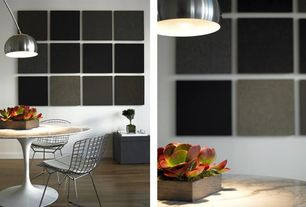 Contemporary Dining Room with Laminate floors, Pendant light, Standard height