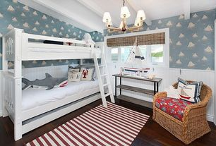 Contemporary Kids Bedroom with Wainscotting, interior wallpaper, Hardwood floors, Chair rail, Exposed beam, Bunk beds