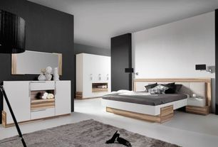 Contemporary Master Bedroom with Wall sconce, The Libra Company - Chapelle Black Wood With Black Shade Tripod Floor Lamp