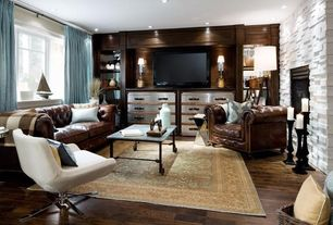 Contemporary Living Room with Built-in bookshelf, Armstrong Flooring - Walnut in Spicy Amber, Hardwood floors