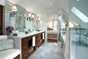 Contemporary Master Bathroom with Wall sconce, Quartz counters, Pental quartz super white bq200, Custom double sink vanity