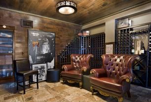 Contemporary Wine Cellar with Kennedy walnut leather lounge chair with wood arms, flush light, Crown molding