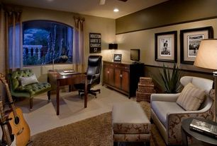 Contemporary Home Office with Standard height, Chair rail, can lights, Arched window, picture window, Concrete tile