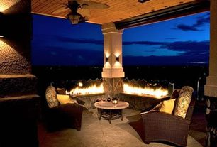Contemporary Porch with Wrap around porch, Fire pit