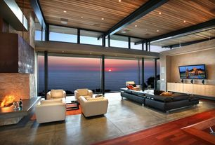Contemporary Living Room with Concrete Network Stained Concrete Finish, Wood ceiling, Concrete tile , Wall mounted tv