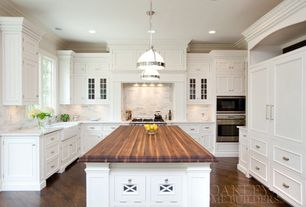 Traditional Kitchen with Paint, Casement, One-wall, full backsplash, Crown molding, Pendant light, Flat panel cabinets