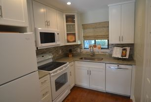 Contemporary Kitchen with Emser flash linear mosaic, Laminate countertops