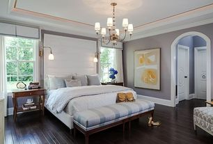 Contemporary Master Bedroom with Modern platform bed, Chandelier, Upholstered bench, Chandelier, Wall sconce, Crown molding