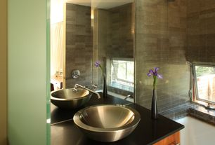 Modern Full Bathroom with Decolav simply stainless double walled vessel bathroom sink with overflow