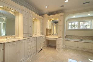 Traditional Master Bathroom with European Cabinets, High ceiling, Master bathroom, large ceramic tile floors, Undermount sink