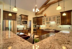 Traditional Kitchen with Arizona Tile Typhoon Bordeaux Granite Countertop, Farmhouse sink, Pendant light, Glass Tile