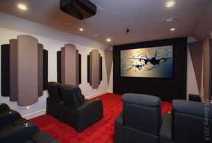 Contemporary Home Theater with Carpet