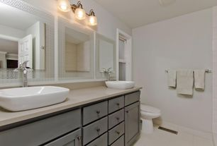 Contemporary Full Bathroom with Double sink, Inset cabinets, Simple Marble, large ceramic tile floors, double-hung window