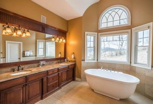 Traditional Master Bathroom with Master bathroom, Raised panel, High ceiling, Complex Marble, Flush, Double sink