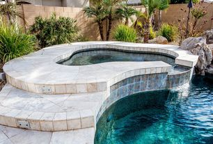 Modern Hot Tub with Fence, exterior tile floors, Pool with hot tub