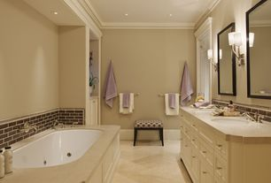 Traditional Master Bathroom with Merola Tile - Tessera Subway Earth 3 in. x 6 in. x 8 mm Glass Wall Tile, Vinyl floors