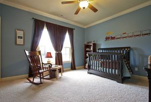 Traditional Kids Bedroom with Mural, Chandelier, Ceiling fan, Monarch specialities 1515 rocking chair, Crown molding, Carpet